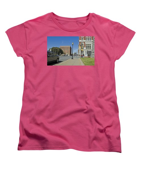 Women's T-Shirt (Standard Cut) featuring the photograph Texas School Book Depository by Charles Beeler