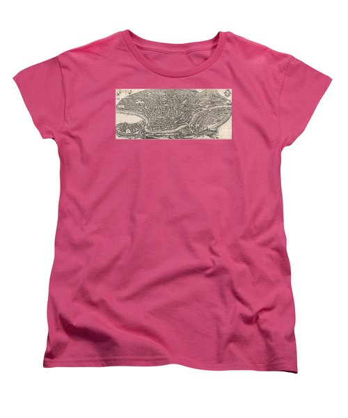 1652 Merian Panoramic View Or Map Of Rome Italy Women's T-Shirt (Standard Cut) by Paul Fearn