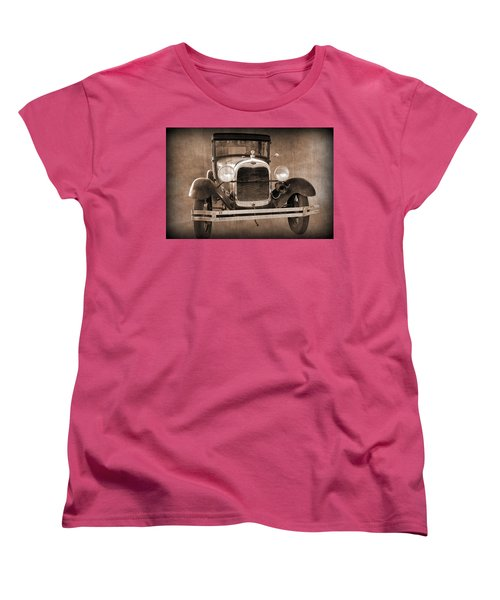 1928 Ford Model A Coupe Women's T-Shirt (Standard Cut) by Betty Northcutt