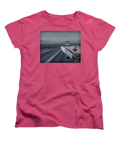 Women's T-Shirt (Standard Cut) featuring the photograph 1959 Cadillac Eldorado Cool Night by LeeAnn McLaneGoetz McLaneGoetzStudioLLCcom
