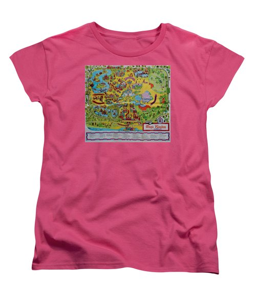 1971 Original Map Of The Magic Kingdom Women's T-Shirt (Standard Cut)