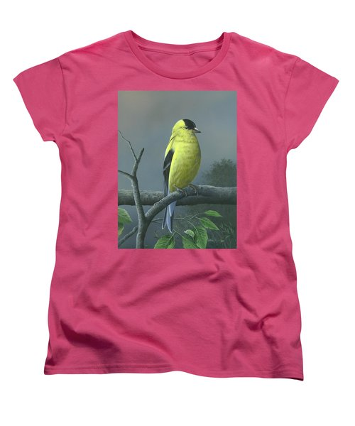 Women's T-Shirt (Standard Cut) featuring the painting American Goldfinch by Mike Brown