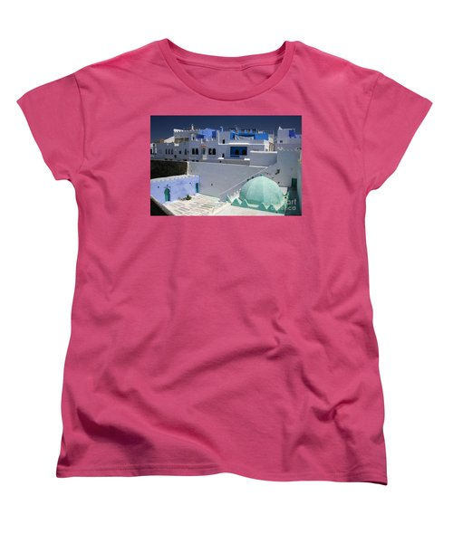 Women's T-Shirt (Standard Cut) featuring the photograph Asilah Meaning Authentic In Arabic Fortified Town On Northwest Tip Of Atlantic Coast Of Morocco by Ralph A  Ledergerber-Photography