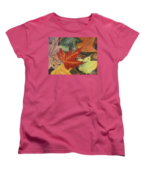 Autumn Leaves In Layers Women's T-Shirt (Standard Cut) by Christy Saunders Church
