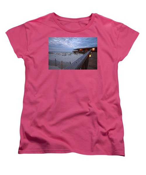 Women's T-Shirt (Standard Cut) featuring the painting Cloudy Morning At The Sea N Suds by Michael Thomas