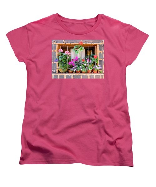 Women's T-Shirt (Standard Cut) featuring the photograph Flowers In A Mexican Window by David Perry Lawrence