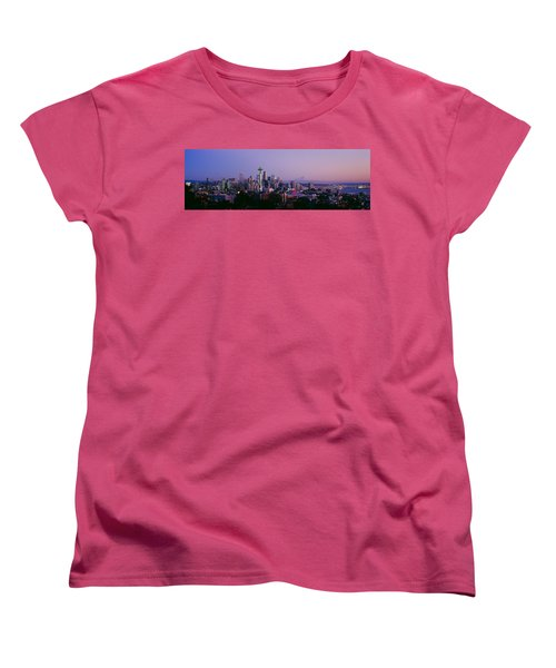 High Angle View Of A City At Sunrise Women's T-Shirt (Standard Cut) by Panoramic Images
