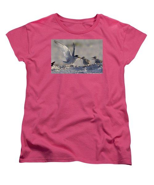 Least Tern Feeding It's Young Women's T-Shirt (Standard Cut) by Meg Rousher