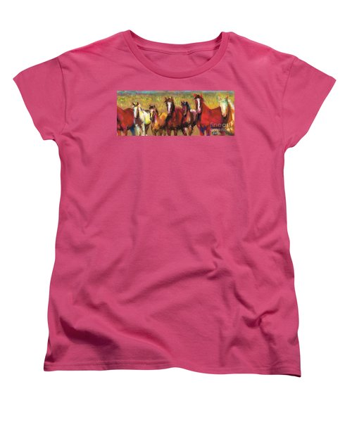 Mares And Foals Women's T-Shirt (Standard Cut) by Frances Marino