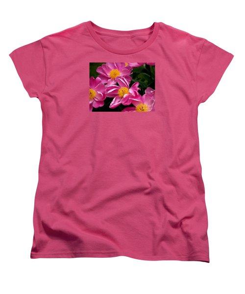 Pink Petals Women's T-Shirt (Standard Cut) by Eunice Miller