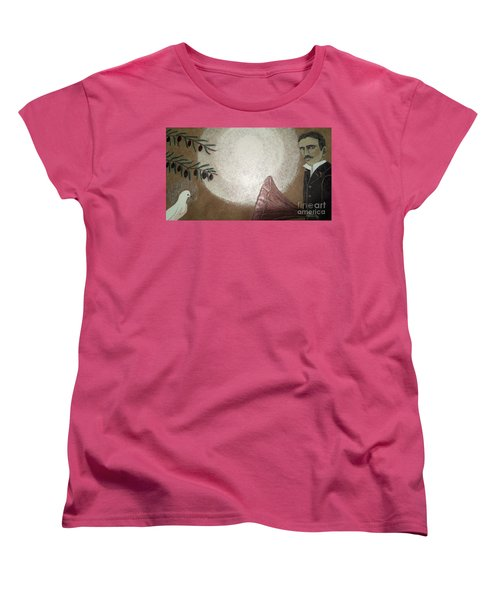 Women's T-Shirt (Standard Cut) featuring the painting Tesla And White Dove by Jasna Gopic