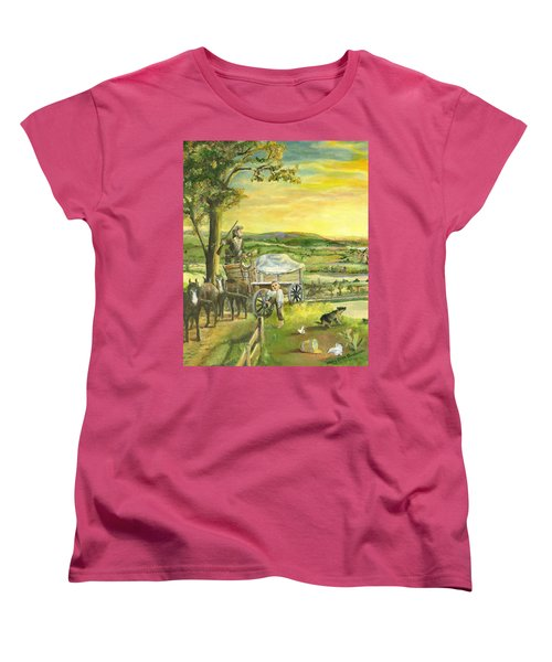 Women's T-Shirt (Standard Cut) featuring the painting The Farm Boy And The Roads That Connect Us by Mary Ellen Anderson