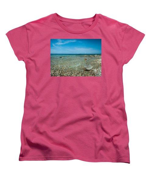 Women's T-Shirt (Standard Cut) featuring the photograph Mackinac Bridge by Larry Carr