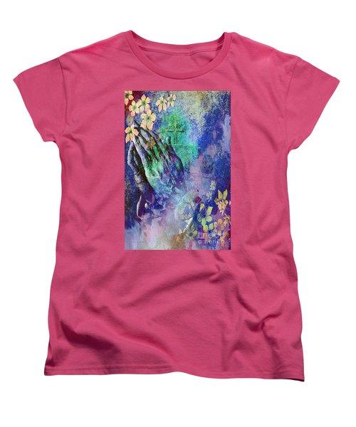 Praying Hands Flowers And Cross Women's T-Shirt (Standard Cut)