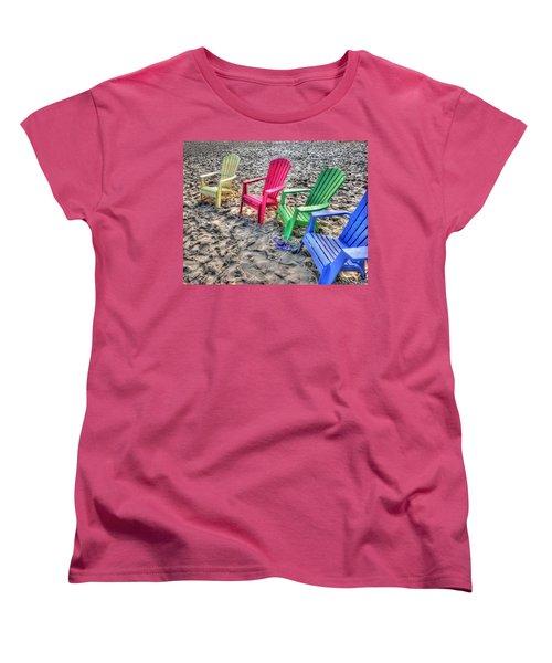 Women's T-Shirt (Standard Cut) featuring the digital art 4 Beach Chairs by Michael Thomas