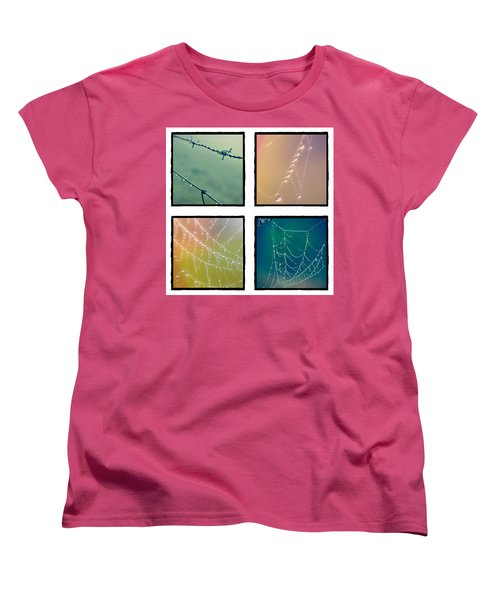 4 Color Web Droplets Women's T-Shirt (Standard Cut) by Beverly Stapleton