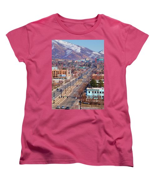 Women's T-Shirt (Standard Cut) featuring the photograph 400 S Salt Lake City by Ely Arsha