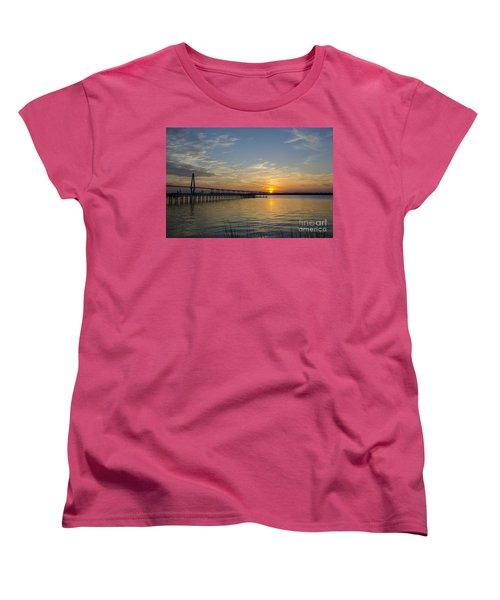 Women's T-Shirt (Standard Cut) featuring the photograph Arthur Ravenel Bridge Tranquil Sunset by Dale Powell