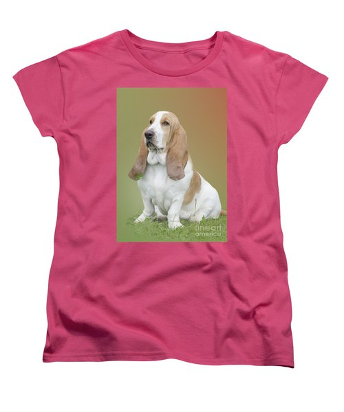 A Basset Hound Portrait Women's T-Shirt (Standard Cut) by Linsey Williams