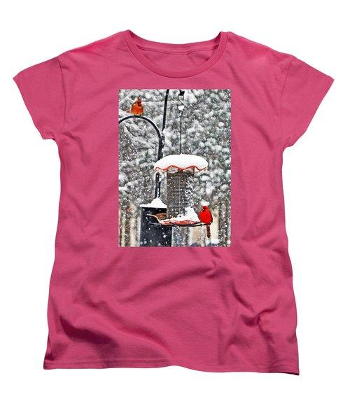 A Cardinal Winter Women's T-Shirt (Standard Cut) by Lydia Holly