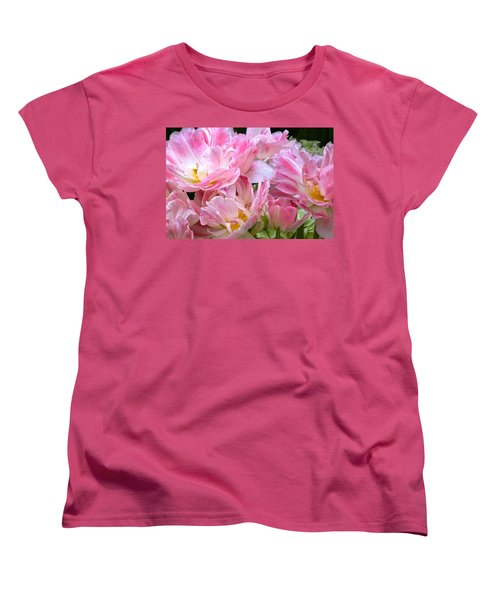 A Crowd Of Tulips Women's T-Shirt (Standard Cut) by Byron Varvarigos