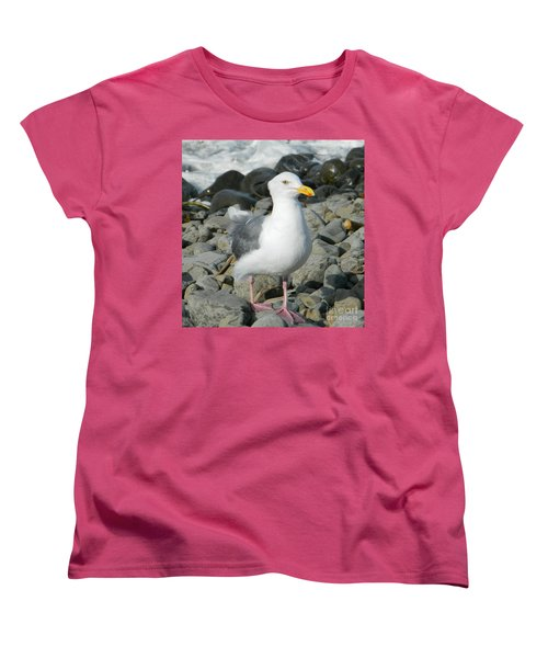 Women's T-Shirt (Standard Cut) featuring the photograph A Curious Seagull by Chalet Roome-Rigdon