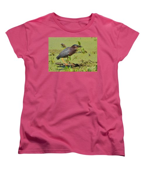 Women's T-Shirt (Standard Cut) featuring the photograph A Greenbacked Heron's Breakfast by Kathy Baccari