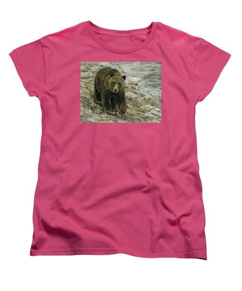 A Grey And Grizzly Day Women's T-Shirt (Standard Cut) by Sandra LaFaut