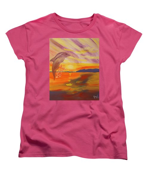 Women's T-Shirt (Standard Cut) featuring the painting A Leap Of Joy by Meryl Goudey