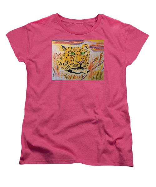 Women's T-Shirt (Standard Cut) featuring the painting A Leopard's Gaze by Meryl Goudey
