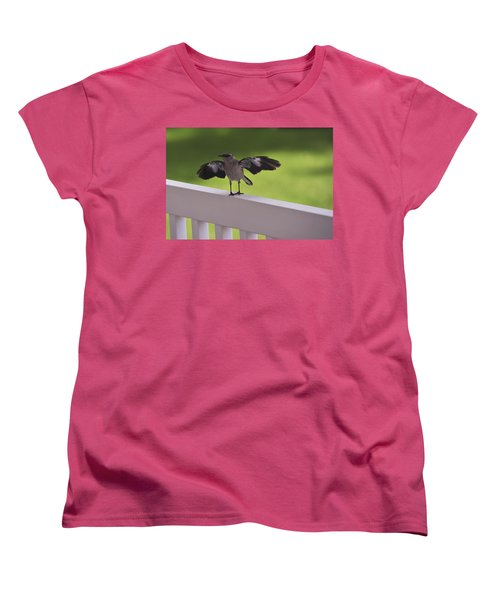 A Little Visitor Northern Mockingbird Women's T-Shirt (Standard Cut) by Terry DeLuco
