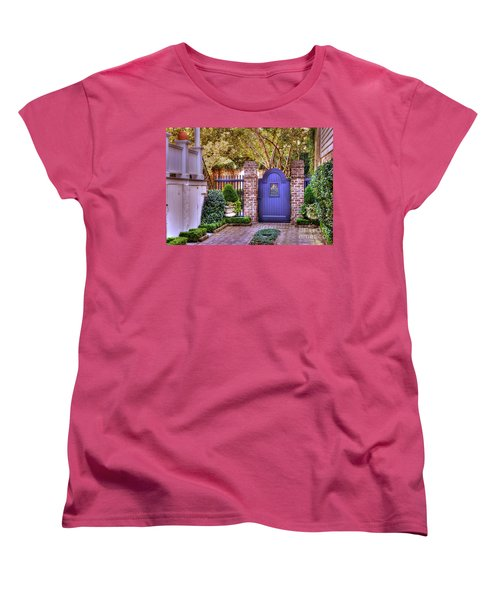 Women's T-Shirt (Standard Cut) featuring the photograph A Private Garden In Charleston by Kathy Baccari