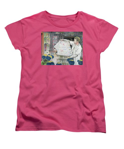 Women's T-Shirt (Standard Cut) featuring the drawing A Roll Of Baseball Cards by Yoshiko Mishina