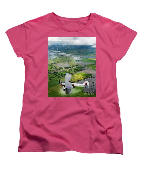 Women's T-Shirt (Standard Cut) featuring the photograph A Swordfish Aircraft With The Royal Navy Historic Flight. by Paul Fearn