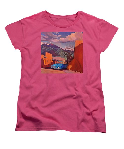 Women's T-Shirt (Standard Cut) featuring the painting A Teal Truck In Taos by Art James West