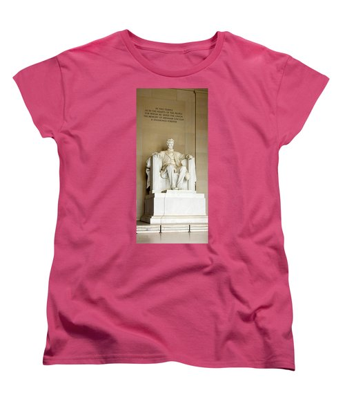 Abraham Lincolns Statue In A Memorial Women's T-Shirt (Standard Cut) by Panoramic Images