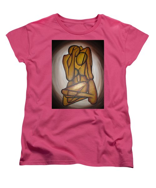 Women's T-Shirt (Standard Cut) featuring the painting Abstract Lovers by Tracey Harrington-Simpson