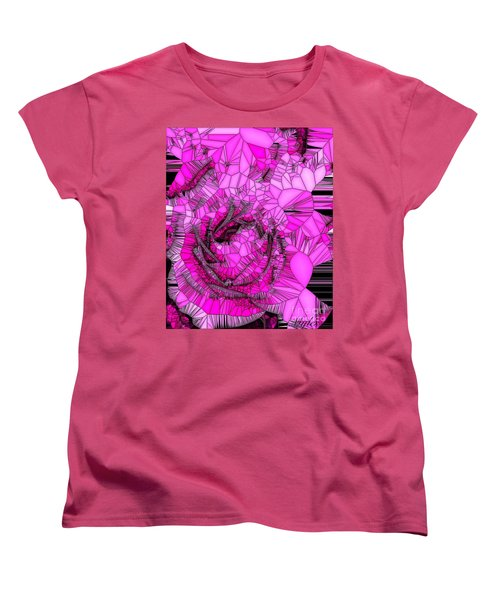 Abstract Pink Rose Mosaic Women's T-Shirt (Standard Cut) by Saundra Myles