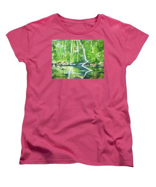 Women's T-Shirt (Standard Cut) featuring the painting Adirondack Zen by Ellen Levinson