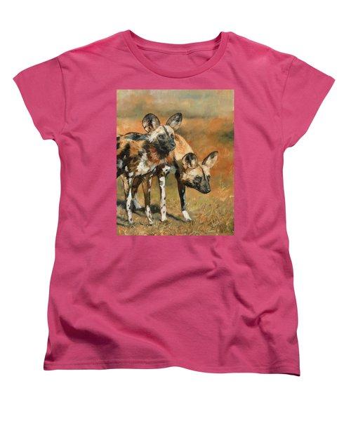 African Wild Dogs Women's T-Shirt (Standard Cut) by David Stribbling