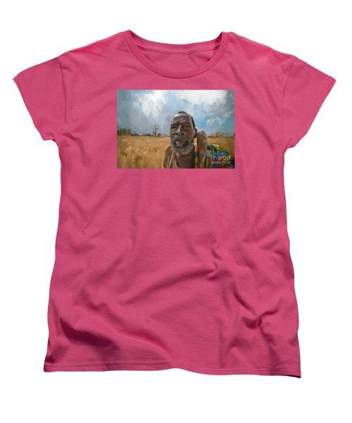 Women's T-Shirt (Standard Cut) featuring the mixed media Afrikan Bushman by Vannetta Ferguson