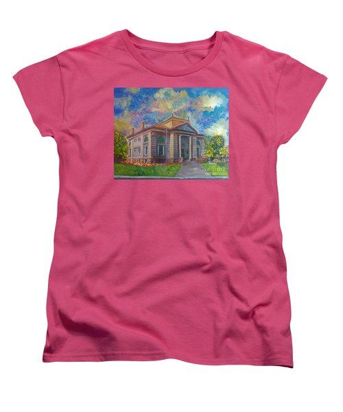 Women's T-Shirt (Standard Cut) featuring the mixed media Alameda Carnegie Library 1899 by Linda Weinstock