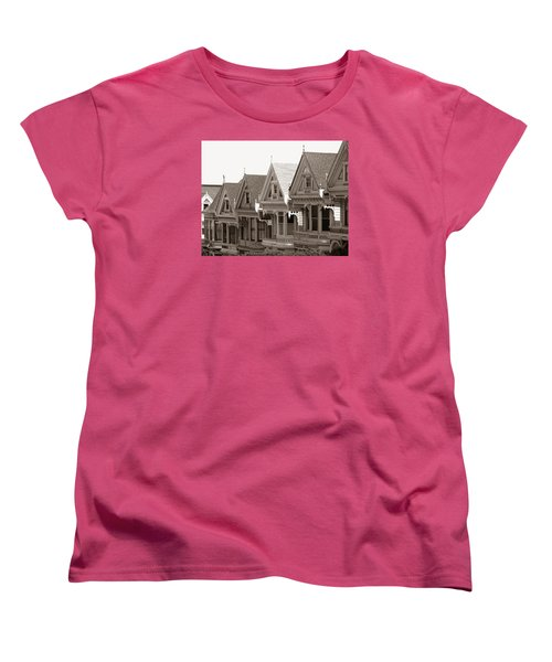 Women's T-Shirt (Standard Cut) featuring the photograph Alamo Square - Victorian Painted Ladies 2009 by Connie Fox