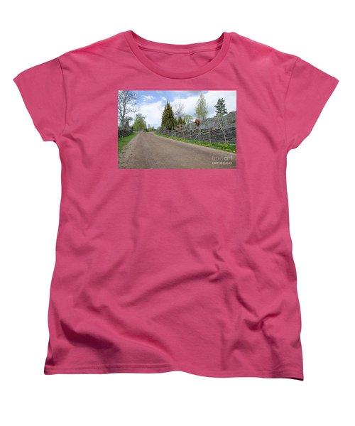 Women's T-Shirt (Standard Cut) featuring the photograph Along An Old Fashioned Road by Kennerth and Birgitta Kullman