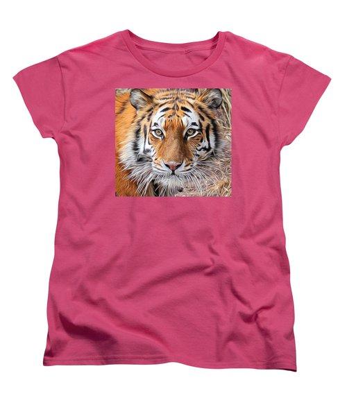 Amur Tiger Portrait Women's T-Shirt (Standard Cut) by Diane Alexander