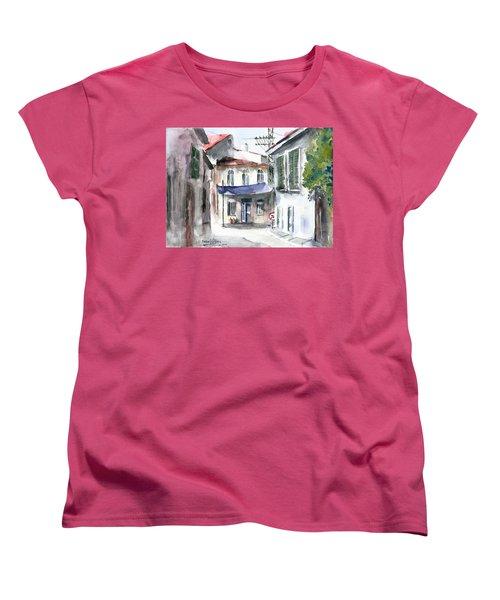 Women's T-Shirt (Standard Cut) featuring the painting An Authentic Street In Urla - Izmir by Faruk Koksal