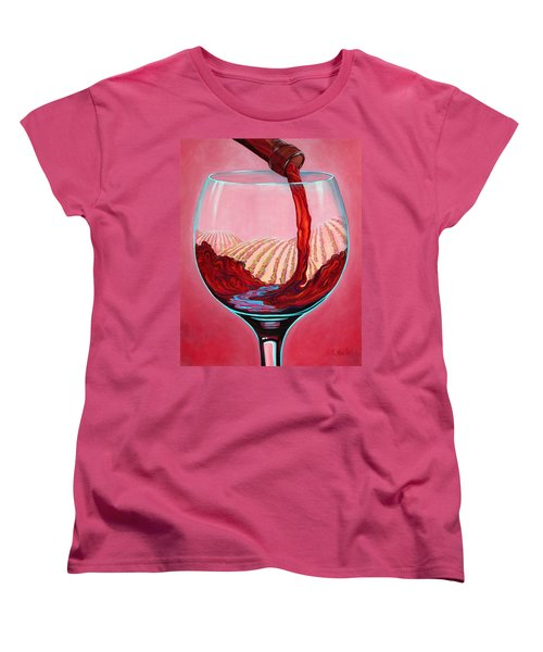 Women's T-Shirt (Standard Cut) featuring the painting ...and Let There Be Wine by Sandi Whetzel