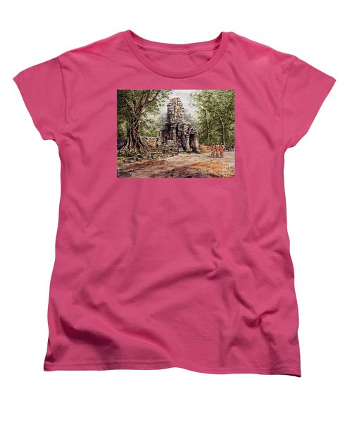 Angkor Temple Gate Women's T-Shirt (Standard Cut) by Joey Agbayani