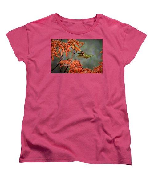 Anna's Hummingbird Women's T-Shirt (Standard Cut) by Linda Villers