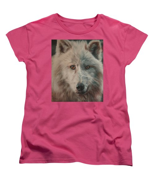 Women's T-Shirt (Standard Cut) featuring the painting Arctic Wolf by Cherise Foster